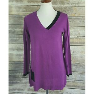 Zac & Rachel V-neck Colorblock Knit Tunic Sweater